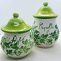 Set Barattolo Porta aglio + Barattolo Porta Cipolle Linea Edere Ceramica Realizzato e dipinto a mano Le Ceramiche del…