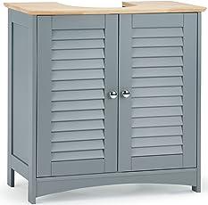 VonHaus Waschbeckenunterschrank mit Doppelter Lamellentür – 2 Regalfächer – Modernes Grau