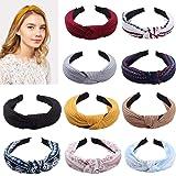 10 stuks elastische hoofdband voor vrouwen chiffon bloem bedrukt hoofdband mode knoop haarband hoofddeksels