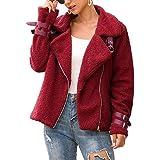 Xsdfwstssd Women Jacket Faux Shearling Winter Outerwear Lapel Fleece Fuzzy Coat