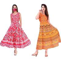 E-WISH BOX Women's Rajasthani Traditional Cotton Jaipuri Printed Long Midi Maxi Dress (Free Size up to 44XL) Combo 2 pcs
