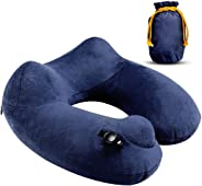 MIAOSITE AirComfy Inflatable Neck Travel Pillow - Soft Washable Cover and Compact Packsack with Travel Clip - for Lightweight Support in Airplane, Car,Train, Bus,Camping,Office Napping & Home