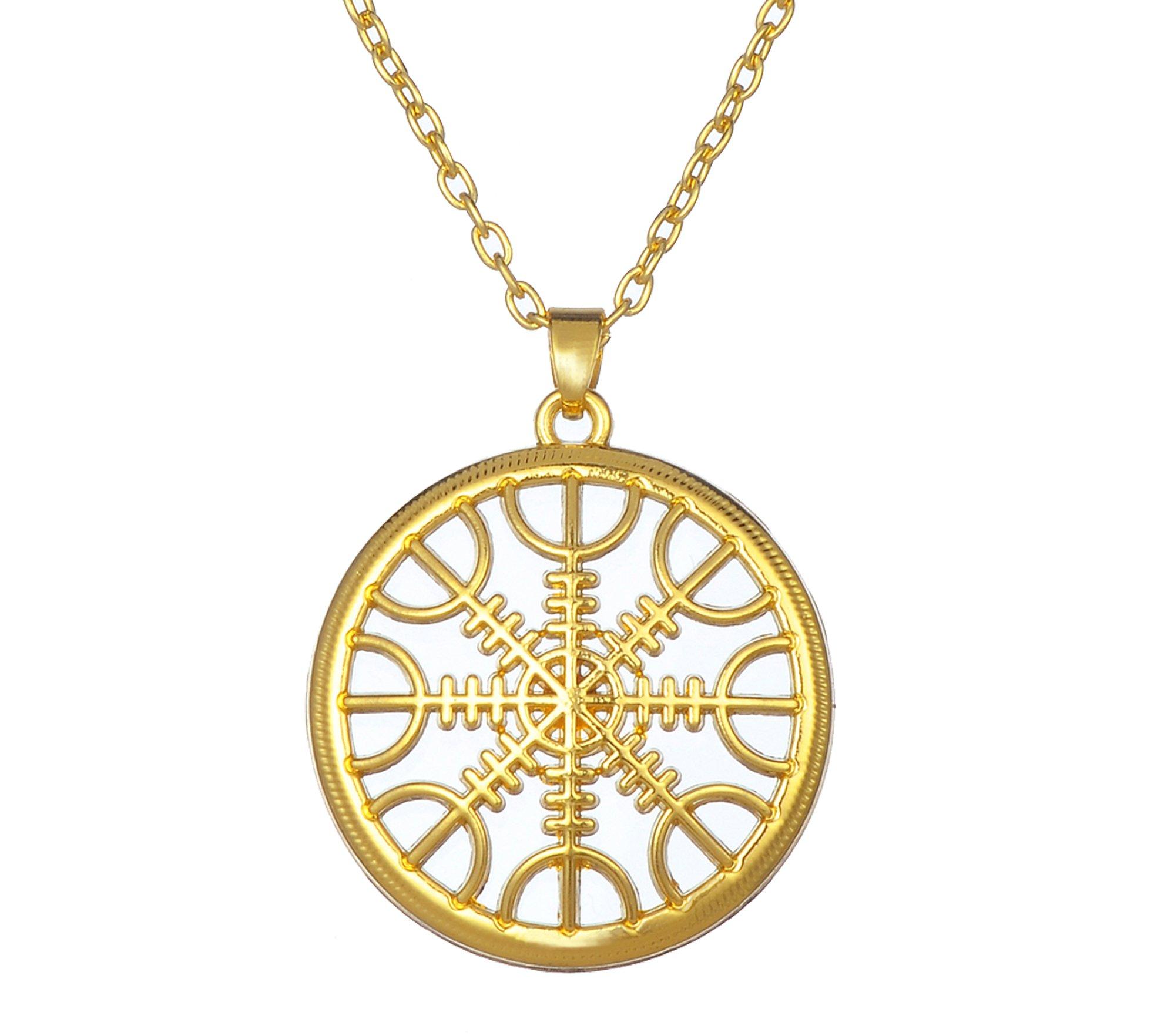 LIKGREAT Viking The Helm of Awe Pendant Necklace, Slavic Scandinavian Talisman Amulet Jewelry