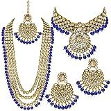 Aheli Wedding Designer Faux Kundan Beaded Indian Heavy Bridal Set Long Choker Necklace Earrings with Maang Tikka Traditional
