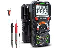 Multimetro digitale professionale automatico, TRMS 6000 Conti (prompt jack LED), Tester Elettrico, Tensione / Corrente / Resi