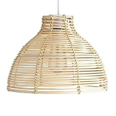 Modern cream wicker rattan basket style ceiling pendant light modern cream wicker rattan basket style ceiling pendant light shade amazon lighting aloadofball Gallery
