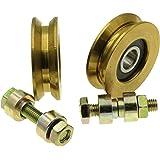 (V50-8) Set van 2 schuifpoortwielen katrolwielen V groef stalen wielen gemaakt in de EU (diameter 50 mm - 8 mm as)