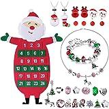 Humairc - Calendario dell'Avvento in feltro per bambine, con 24 gioielli, kit fai da te per braccialetti, collane, orecchini,