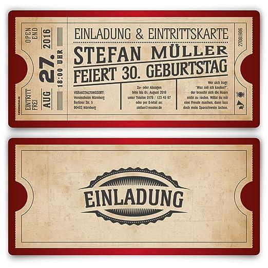 Einladungskarten Zum Geburtstag (30 Stück) Als Eintrittskarte Im Vintage  Ticket Look In Rot: Amazon.de: Bürobedarf U0026 Schreibwaren