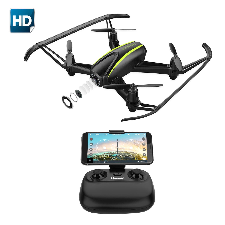 Potensic Drone avec caméra HD, Un Bouton pour Le décollage et l'atterrissage, Mode sans Tête, Mode de Restez-Altitude, Fantastiqu Super Grand Angle à 120 degrés RC Drone, 720P caméra