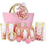 Spa Luxetique Coffret de Soins pour Femme, 10 PC Coffret de Bain au Parfum de Rose, Gel Douche, Bain Moussant, Cadeau d'Anniv