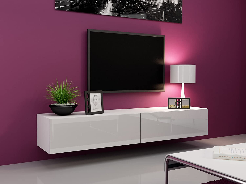 Wohnwand weiß hochglanz mit holz  TV Board Lowboard Migo Hängeschrank Wohnwand 180cm (Weiß Matt ...