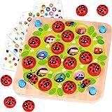 Nene Toys - Memory Spel met Lieveheersbeestjes – Houten Geheugen Spel voor Kinderen 3, 4, 5 Jaar - 10 Patronen - Educatief Sp