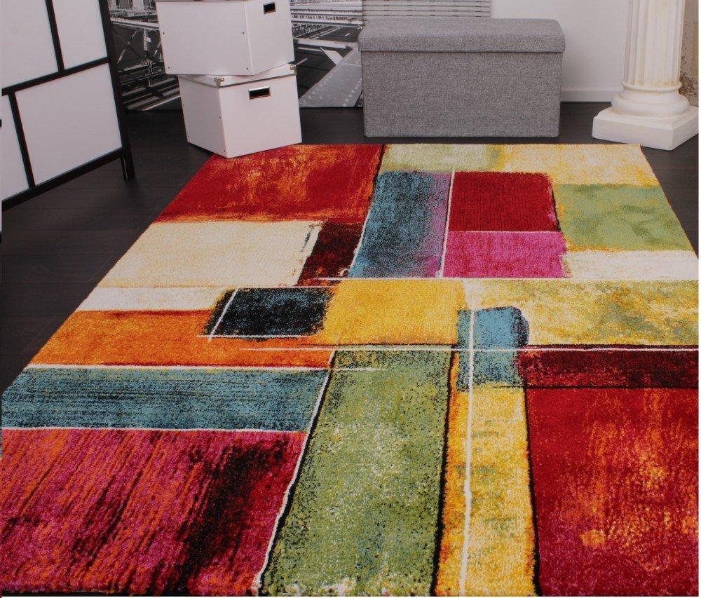 Teppich design bunt  Teppich Modern Splash Designer Teppich Bunt Karo Model Neu OVP ...