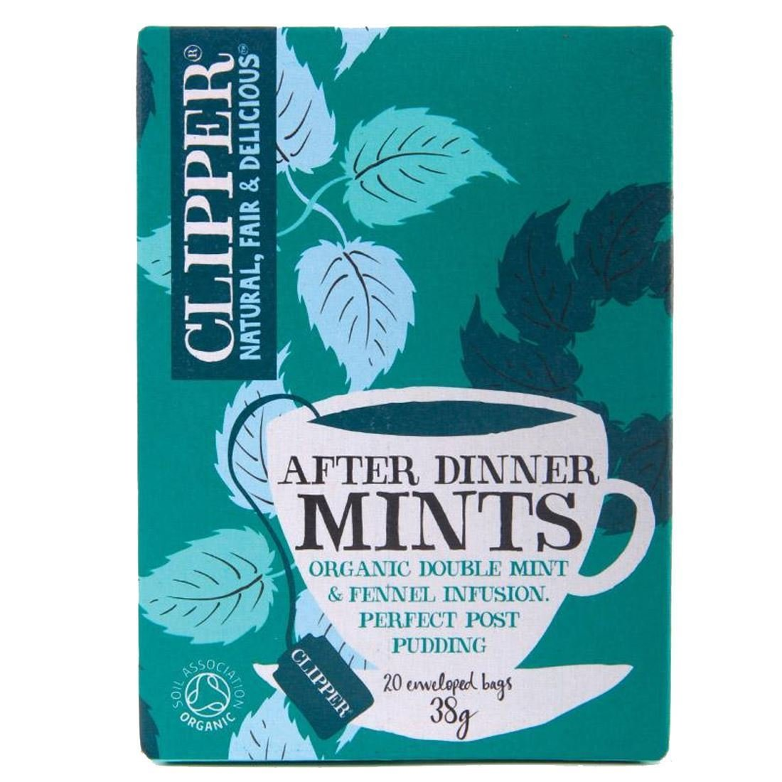 Clipper organic after dinner mints tea bundle (soil association) (infusions) (after dinner mints) (6 packs of 20 bags) (120 bags) (a spicy tea with aromas of fennel, peppermint, spearmint) (brews in 3-5 minutes)