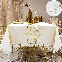 SUNBEAUTY Nappe Waterproof Tablecloth Nappe Impermeable Anti Tache Rectangulaire Coton Lin 140x180 Elegant Table Cloth…