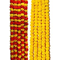 VRCT Artificial Marigold Flower Garlands 5 Feet Long (Orange and Yellow 5 and Yellow 5)