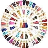 Troddel Hanger, 100 lederen kwastjes, kleurrijke mini-kwasten met gouden kap, sleutelhanger, ketting voor sieraden, knutselen