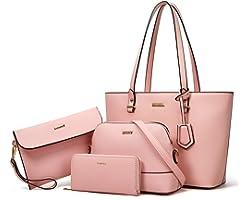 YTL Damen Handtasche Tote Shopper Groß Schultertasche Umhängetasche Geldbörse Kartenhalter Tasche 4-teiliges Set für Büro Sch