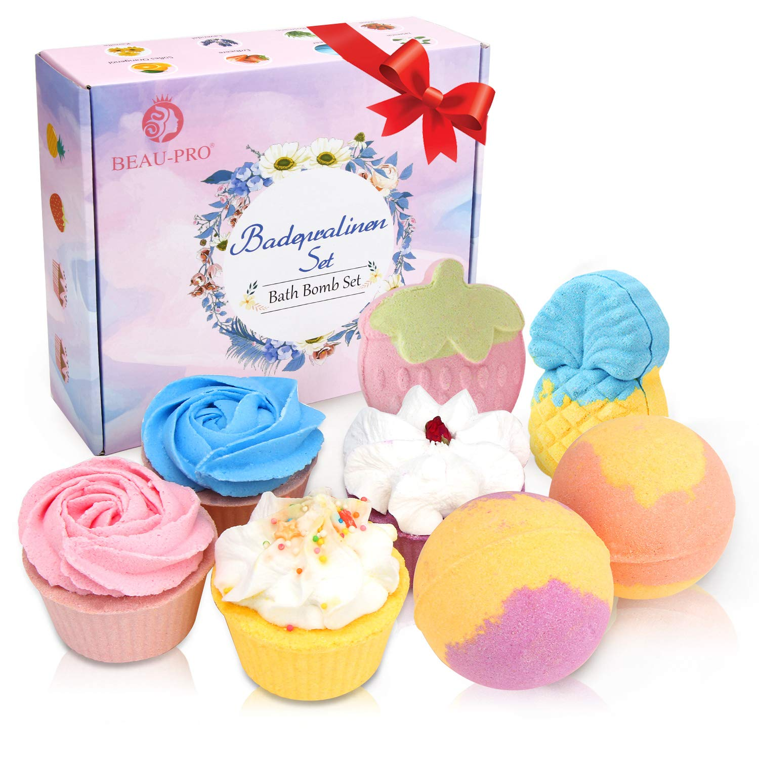 Bath Bombs, 8 pcs Natural & Mixed Colour Bubble Bath Gift Set, Fizzy Spa to Moisturize Dry Skin, Best Gift for Your Beloved on Christmas Birthday Valentines Anniversary