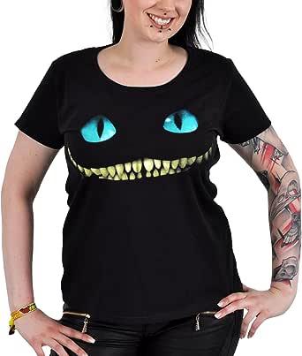 L Girocollo sagomata Alice in Wonderland T-Shirt per ragazze con motivo dello Stregatto Tratta dal film di Tim Burton Nero