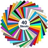 Wishesther 40 Feuilles de Vinyle Adhesif 40 Couleurs 30 x 30cm Papier Transfert Vynil Autocollant pour Cricut Silhouette Came