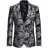 Allthemen Abito da Uomo Casual in Velluto di Lusso da Uomo Slim Fit Floral Prints Stylish Blazer Coats Chic Jackets