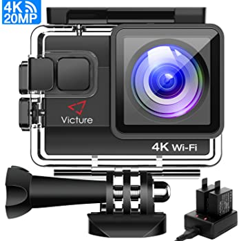 Victure 4K Action Camera Waterproof Cams Ultra HD 20MP WIFI 40M Underwater Cameras Dual-battery Charger/Time-lapse/Anti-shaking/4x Zoom/Some accessories/170 Degree Wide View Angle 2 Inch LCD Screen