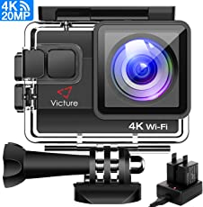 Victure 4K Action Cam Wi-Fi 20MP Ultra HD Impermeabile 40M Immersione Sott'acqua Camera 170° Grandangolare 2.0 Pollici due 1050mAh Batterie/Caricabatteria/Kit Accessori per Ciclismo Nuoto