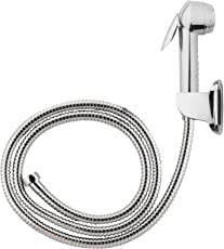 Hindware F160068CP Health Faucet ABS SS Braided Hose 1m with CP Hook (Chrome)