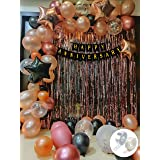 Party Propz happy Anniversary Decoration Kit For Home -62 Items Rose Gold Combo Set - Banner, Curtains, Balloons, Foil Balloo