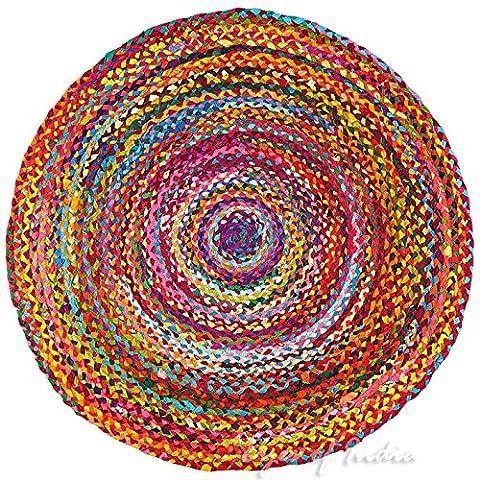 EYES OF INDIA - 5 Ft Round Tan Natural Jute Sisal Woven Area Braided Rug Boho Bohemian Indian