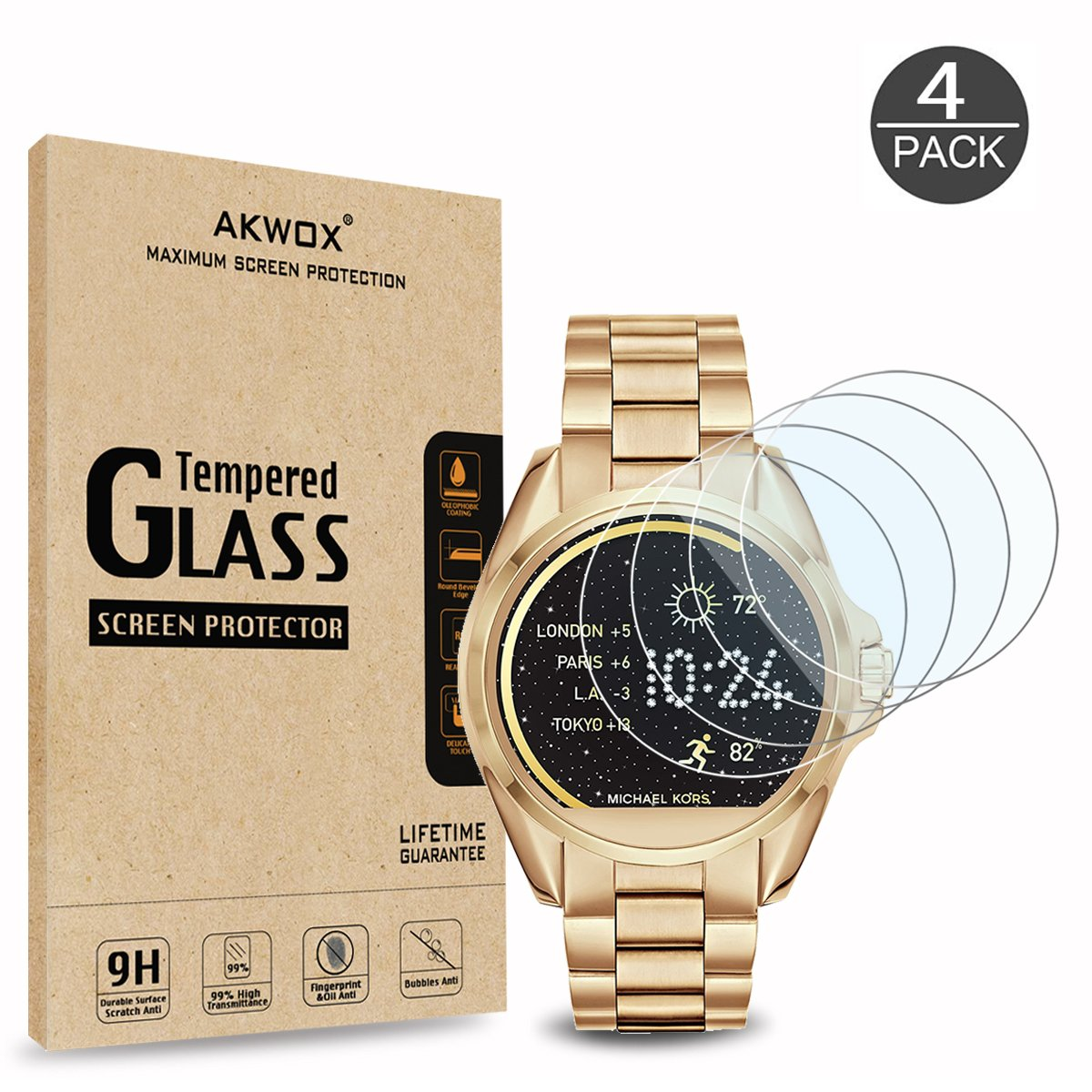 AKWOX [4 Unidades] Protector de Pantalla para Michael Kors MKT5001 [9H Dureza] Cristal Vidrio Templado para Michael Kors… 1