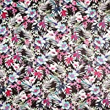 Chiffon Tropenblumen – Schwarz — Meterware ab 0,5m —