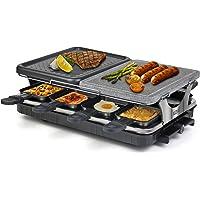 Raclette Appareil 8 Personnes Machine à Raclette avec Pierre Naturelle Antiadhésive en Aluminium 2 In 1 avec 8 Mini…