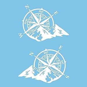 Autodomy Kompass Off Road Sport Trail 4x4 Aufkleber Paket 2 Stück Für Auto Oder Motorrad Weiß Auto