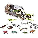 Terra 60-delige set dierenfiguren voor reptielen en amfibieën, speelgoedset – slangen, kikkers, krokodillen, hagedissen en me