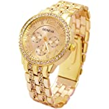 Geneva Platinum Analogue Women's Watch (Gold Dial Gold Colored Strap)
