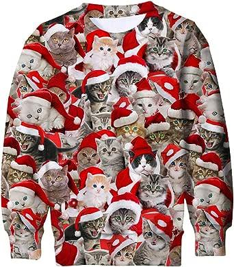 ALISISTER Kids Ugly Christmas Sweater 3D Funny Printed Long Sleeve Xmas Pullover Jumper Sweatshirt