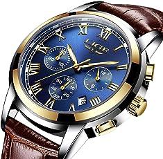 Herren Uhren,Herren-Armbanduhr Sport Analog Quarz mit Leder Armband Business Fashion Kleid Uhr für Männer