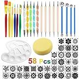58 Pcs Kit Outil Peinture pour Mandala Outils de Pointage de Mandala Pochoir Ensemble de Pinceau Pinceau de Peinture sur Pier