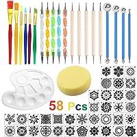 58 Pcs Kit Outil Peinture pour Mandala Outils de Pointage de Mandala Pochoir Ensemble de Pinceau Pinceau de Peinture sur…