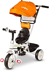 Baybee LADYO 3-in 1 Tricycle Learn to Ride Trike with Canopy and Parent Control | Plug and Play Tricycle for Kids/Baby ( Orange )