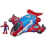 Playskool Heroes Marvel-superheldavonturen Spider-Man Jetquarters, figuur-en-voertuigset van 12,5 cm, speelgoed om te verzame