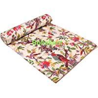 """BOHEKANT Hand Made Cotton Bird Print Indian Kantha Quilt Bed Spread Blanket Throw Indian Queen Size Coverlet Size 90"""" X…"""