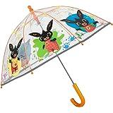 Ombrello Bing Trasparente a Cupola per Bambini - Ombrello Lungo Bimbi 3 4 5 Anni Scuola Materna Asilo - Ombrellino Conigliett