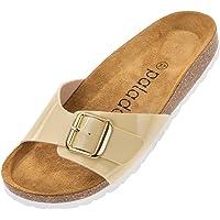 Palado® Damen Sandale Malta GS   Made in EU   Pantoletten in sommerlichen Farben   1-Riemen Sandaletten mit Natur Kork…