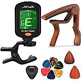 MOREYES Clip de sintonizador en cromático, guitarra, bajo, violín, ukelele Incluye guitarra, capo y púas y soporte Capo Tuner
