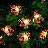 [50 LED] Luci solari da giardino, a forma di ape, 7 m, 8 modalità, impermeabili, per esterni e interni, per recinzioni, prati