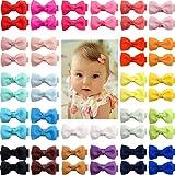 JOYOYO 50 clips para el pelo de bebé mini lazos de 5 pulgadas con cinta completa cubierta antideslizante clips de pelo pequeñ